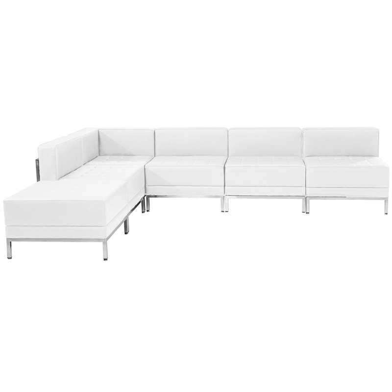 #69 - 6 Piece Imagination Series White Leather Sectional Configuration