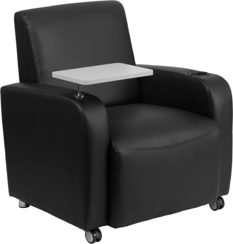 #106 - Black Leather Guest Chair with Tablet Arm, Front Wheel Casters and Cup Holder