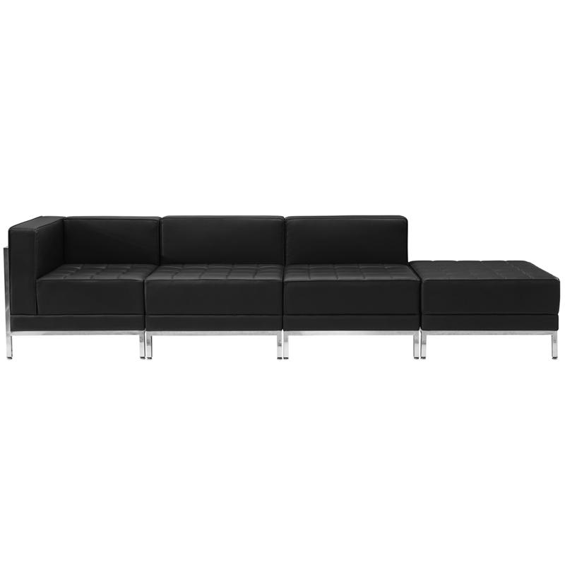 #32 - 4 Piece Imagination Series Black Leather Chair & Ottoman Set