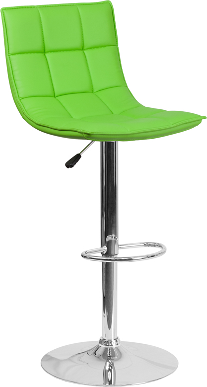 #212 - Contemporary Green Quilted Vinyl Adjustable Height Barstool with Chrome Base