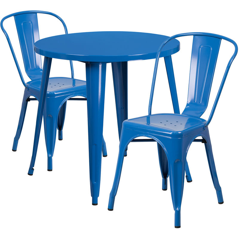#126 - 30'' Round Blue Metal Indoor-Outdoor Restaurant Table Set with 2 Cafe Chairs