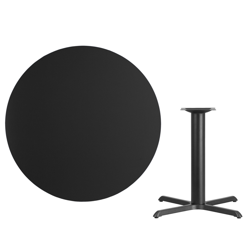 #49 - 42'' Round Black Laminate Table Top with 33'' x 33'' Table Height Base