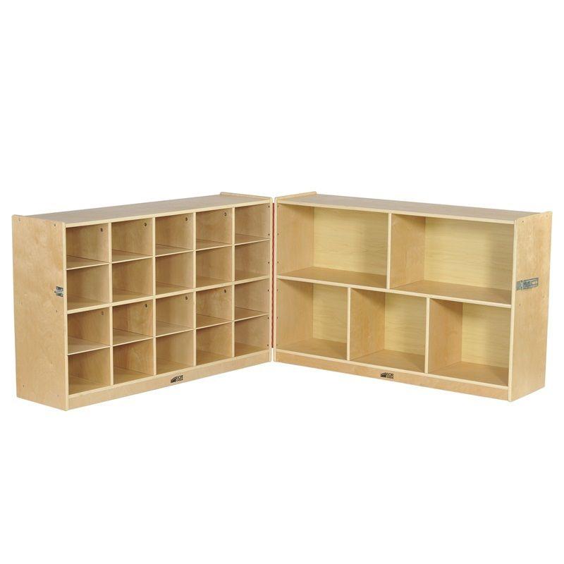 #15 - 30'' Fold & Lock 15 Tray Storage Cabinet w/ 25 Beige Container Bins