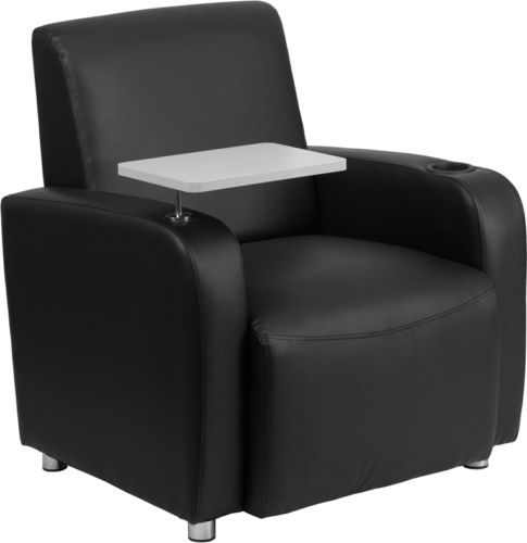 #107 - Black Leather Guest Chair with Tablet Arm with Chrome Legs and Cup Holder