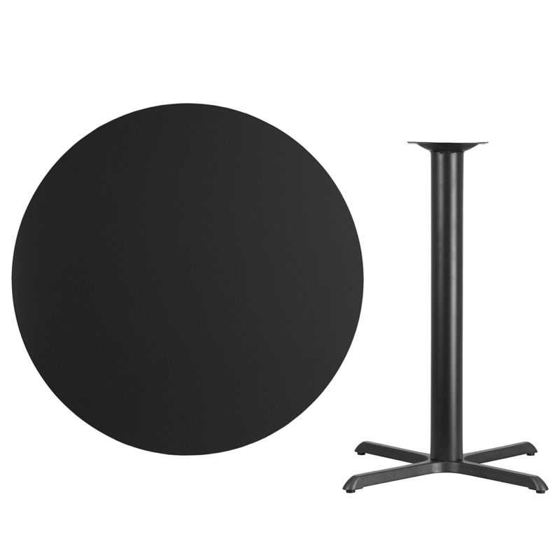 #50 - 42'' Round Black Laminate Table Top with 33'' x 33'' Bar Height Base