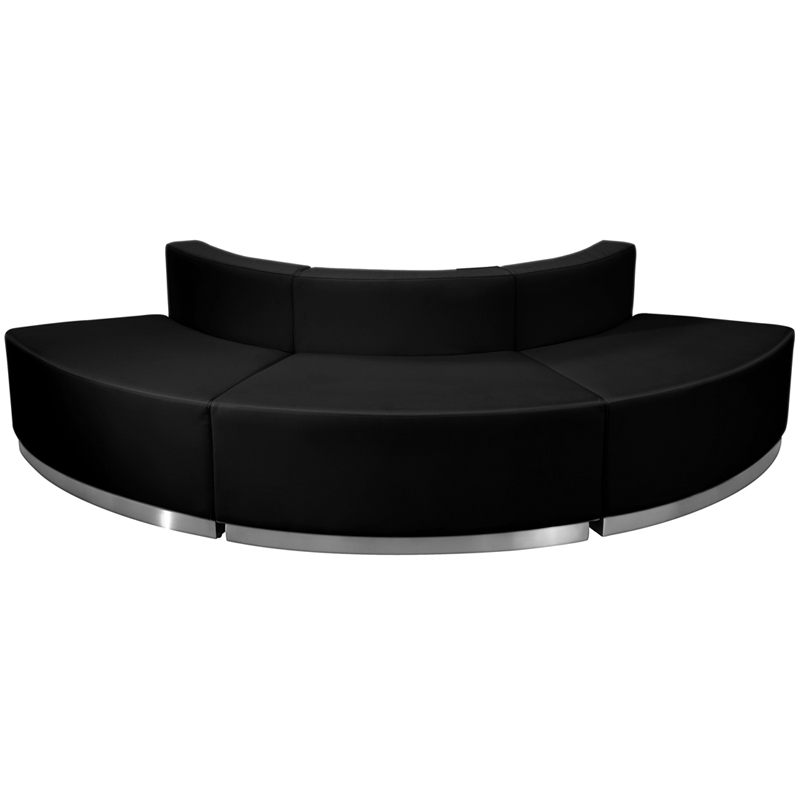 #15 - LOUNGE SERIES BLACK LEATHER RECEPTION CONFIGURATION, 3 PIECES