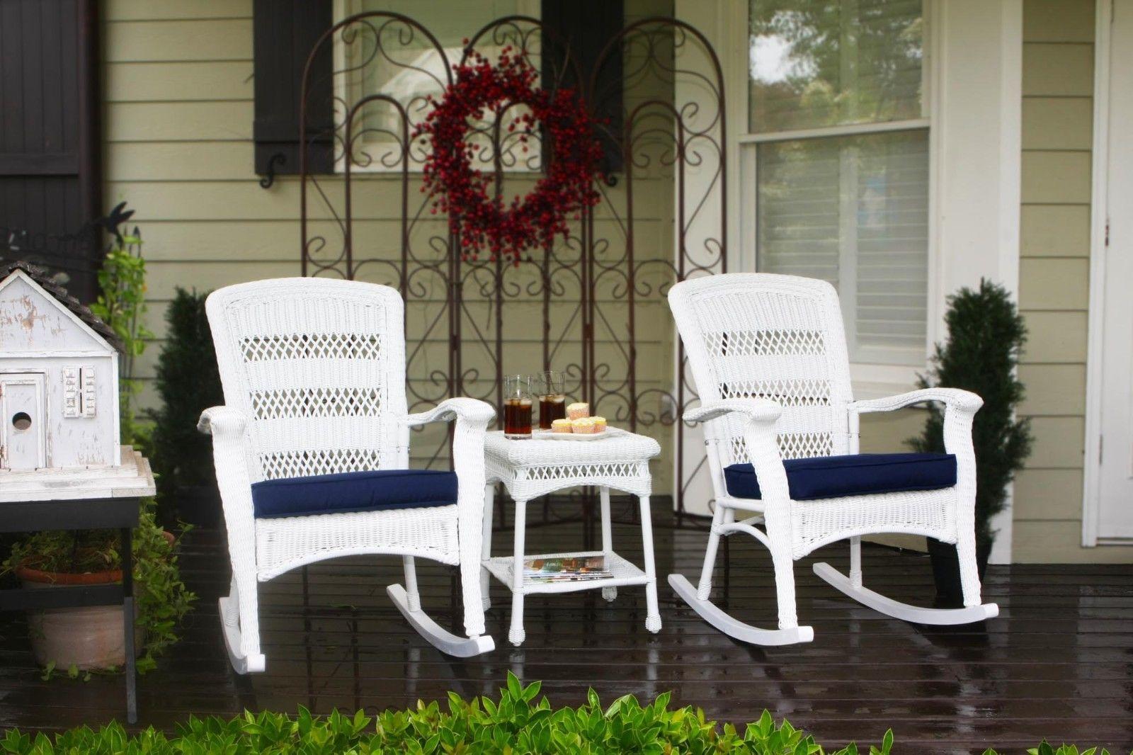 #12 - Outdoor Patio Garden Coastal White Resin Wicker Plantation Rocking Chair Set