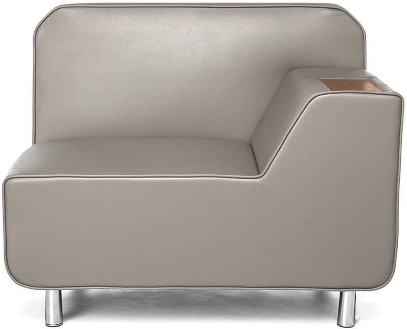 #169 - Left Arm Lounge Chair in Taupe with Bronze Finish