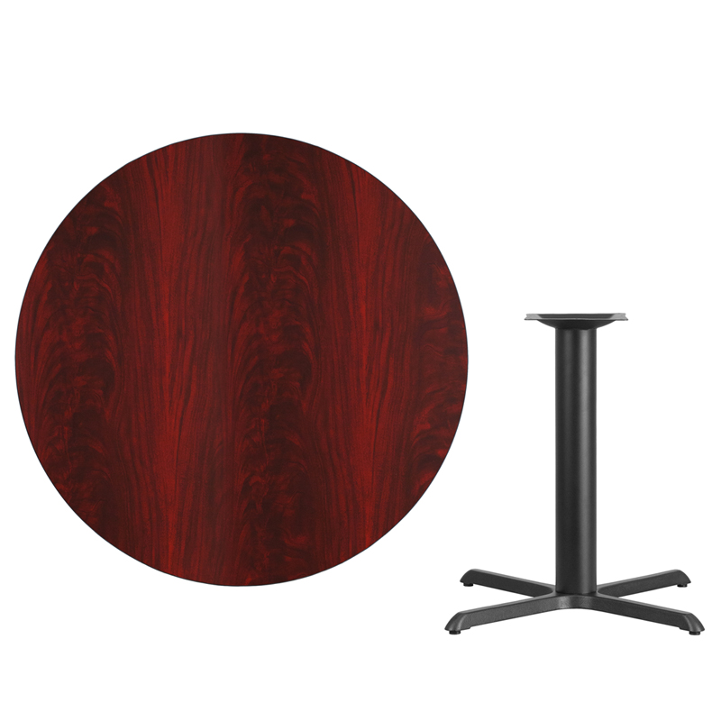 #51 - 42'' Round Mahogany Laminate Table Top with 33'' x 33'' Table Height Base