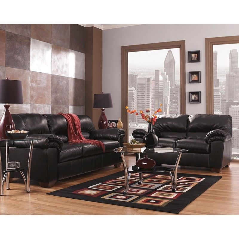 #32 - Signature Design by Ashley Commando Living Room Set in Black Leather