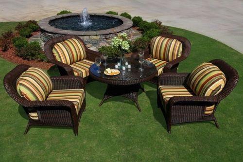 #111 - 5 Piece Outdoor All Weather Patio Furniture Resin Wicker Conversation Set