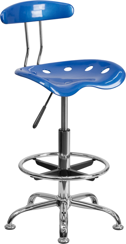 #53 - VIBRANT BRIGHT BLUE AND CHROME DRAFTING STOOL WITH TRACTOR SEAT