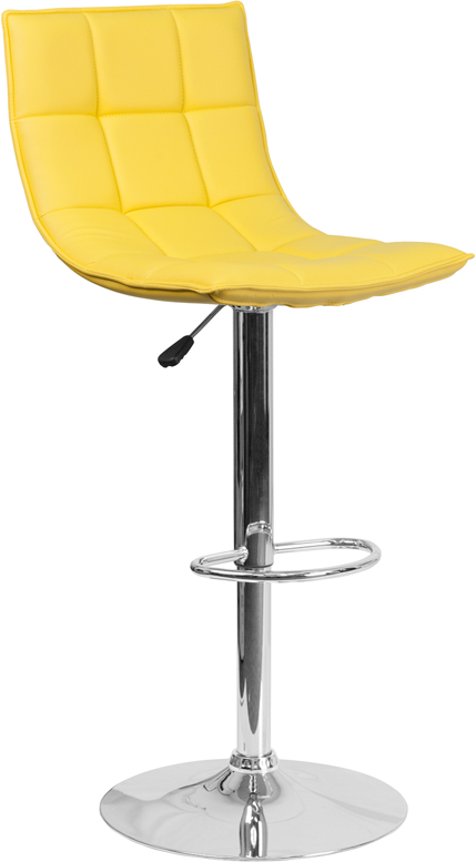 #216 - Contemporary Yellow Quilted Vinyl Adjustable Height Barstool with Chrome Base