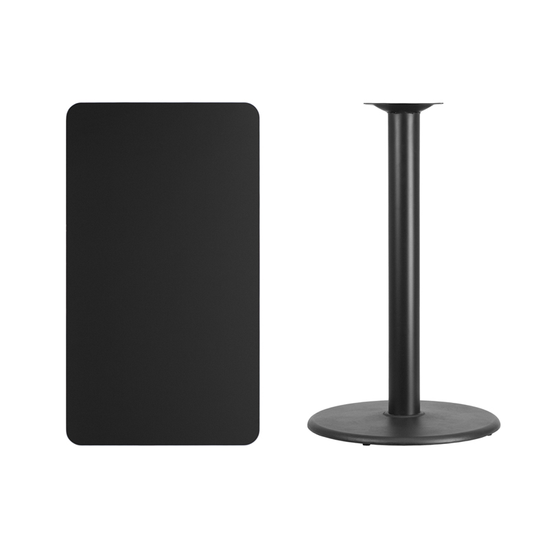 #137 - 24'' X 42'' RECTANGULAR BLACK LAMINATE TABLE TOP WITH 24'' ROUND BAR HEIGHT BASE