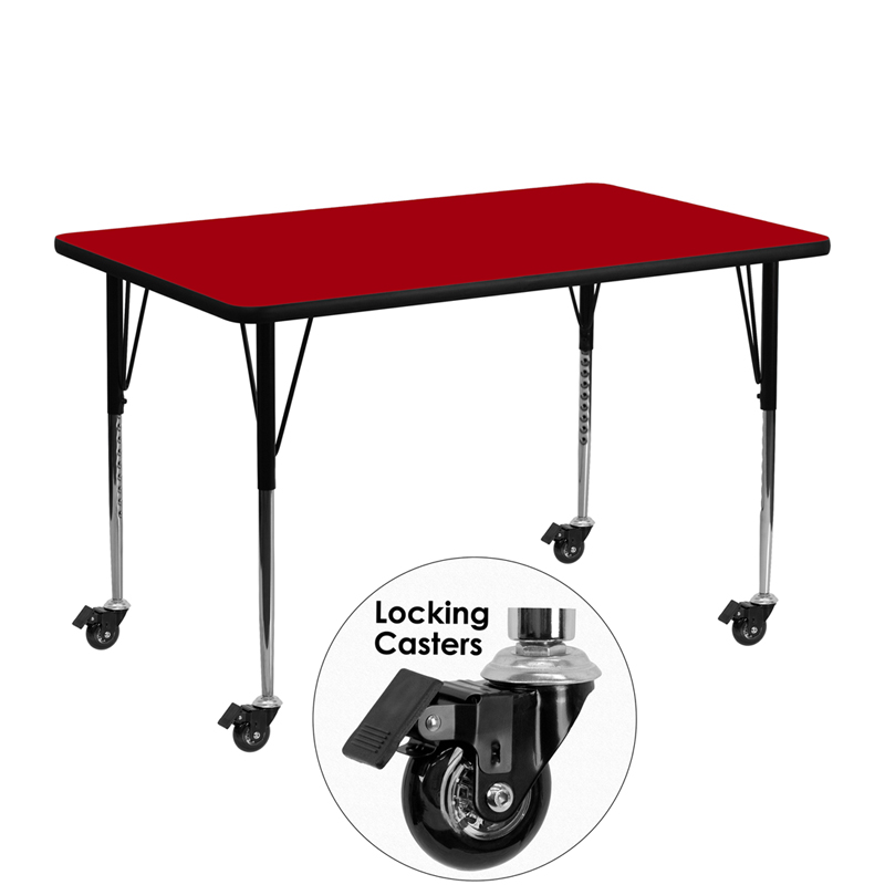 #14 - Mobile 24''W x 48''L Rectangular Activity Table with Red Thermal Fused Laminate Top and Standard Height Adjustable Legs