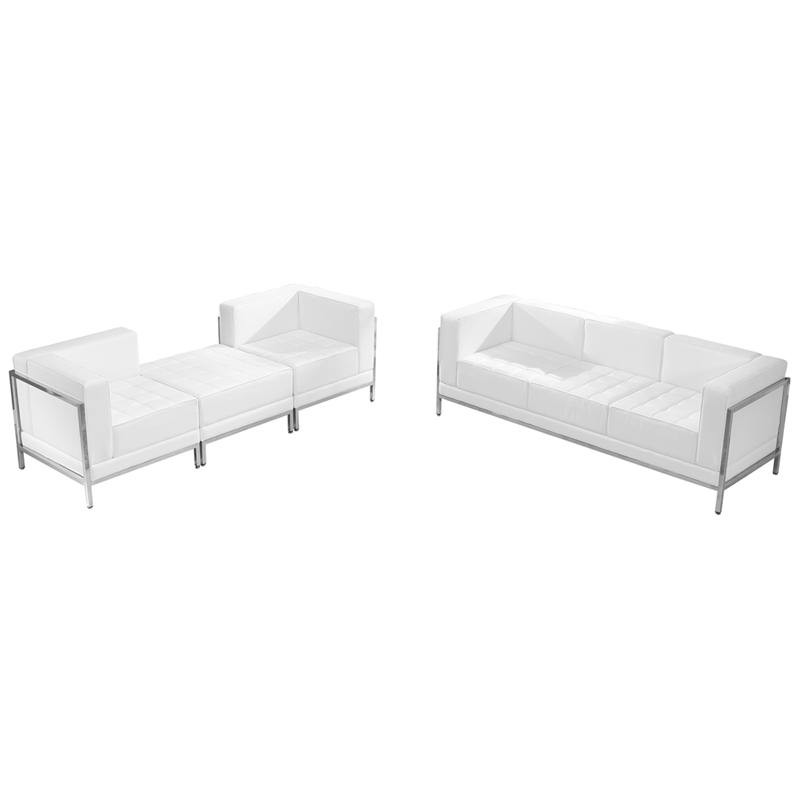 #70 - 4 Piece Imagination Series White Leather Sofa & Lounge Chair Set