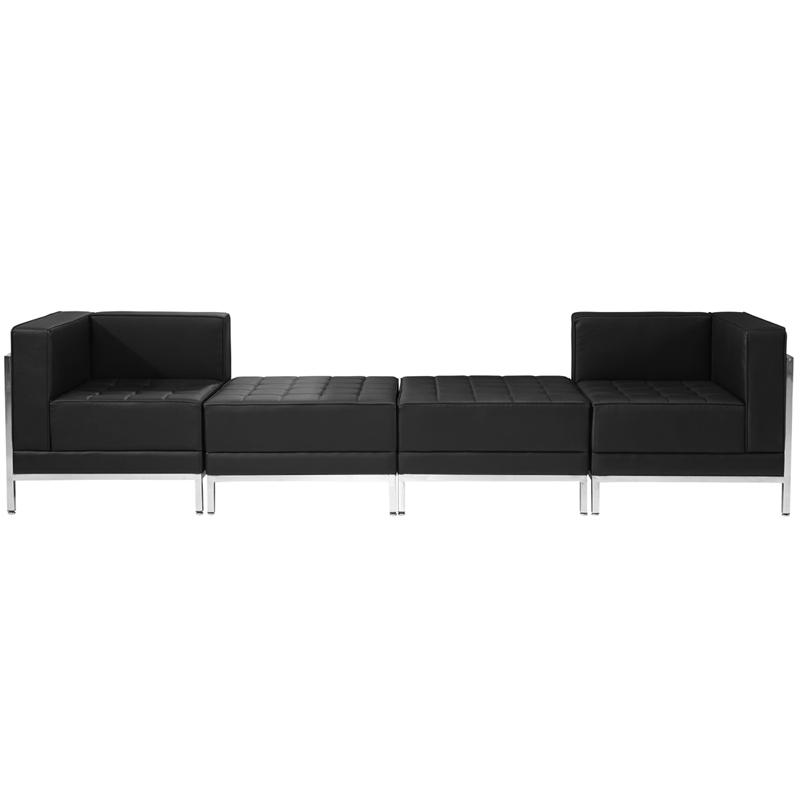 #33 - 4 Piece Imagination Series Black Leather Chair & Ottoman Set