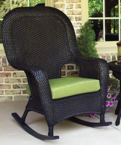 #69 - Outdoor Patio Garden Furniture Tortoise Resin Wicker Rocker Chairs and Table Set in Pine