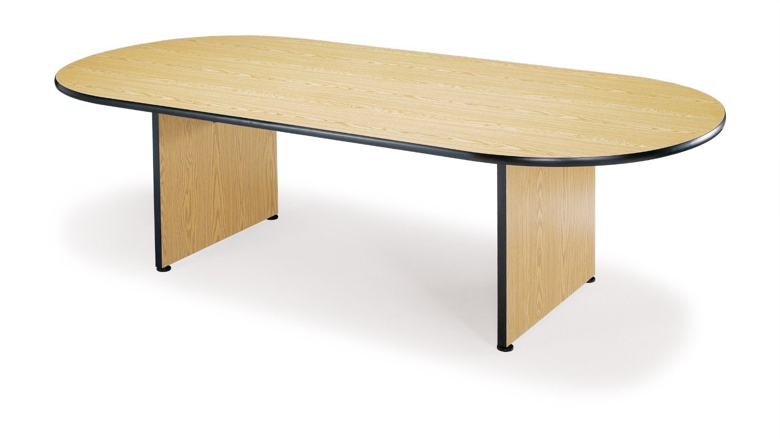 "#9 - OFM Racetrack Style Conference Table w/ Laminated Table Top and Oak Color Finish 48"" x 96"""