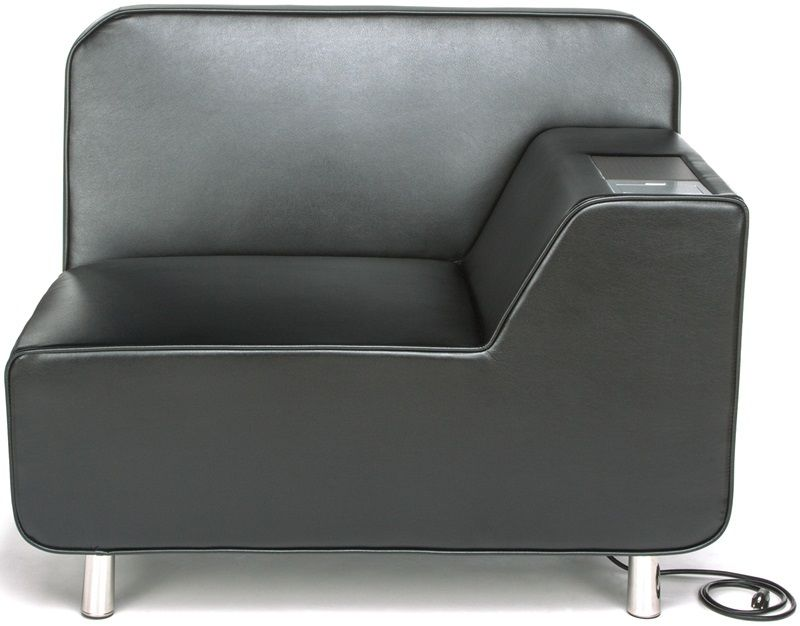 #170 - Left Arm Lounge Chair in Taupe with Electrical Outlet in Taupe with Bronze Finish