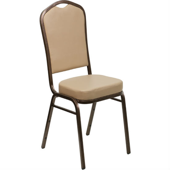 #7 - CROWN BACK BANQUET CHAIR WITH TAN VINYL AND COPPER VEIN FRAME