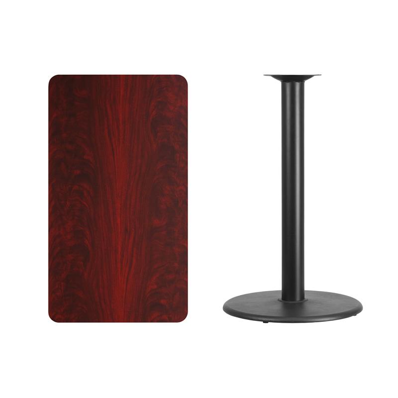 #139 - 24'' X 42'' RECTANGULAR MAHOGANY LAMINATE TABLE TOP WITH 24'' ROUND BAR HEIGHT BASE