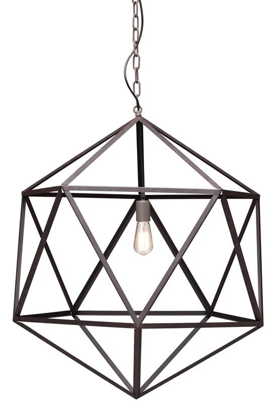 #72 - Triangles Linked Creating Large Rust Steel Ceiling Lamp - Home Decor