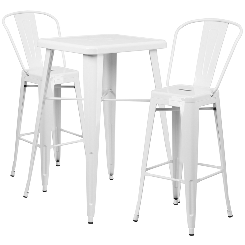 #38 - 23.75'' Restaurant Table Set in White Metal with Bar Height Table and 2 Stools