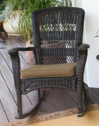 #13 - Outdoor Patio Dark Roast Resin Wicker Plantation Rocking Chair Set