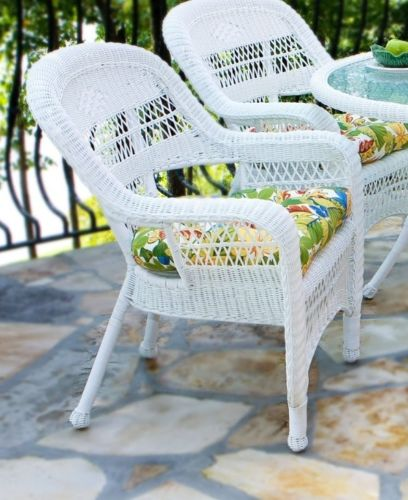 #39- 5 Piece Outdoor Patio Coastal White Resin Wicker Dining Set with Saltilla Fabric