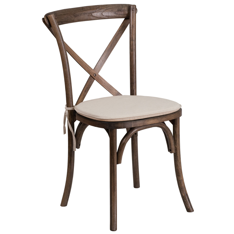 #6 - Bistro Style Cross Back Early American Wood Wood Stackable Restaurant Chair with Seat Cushion