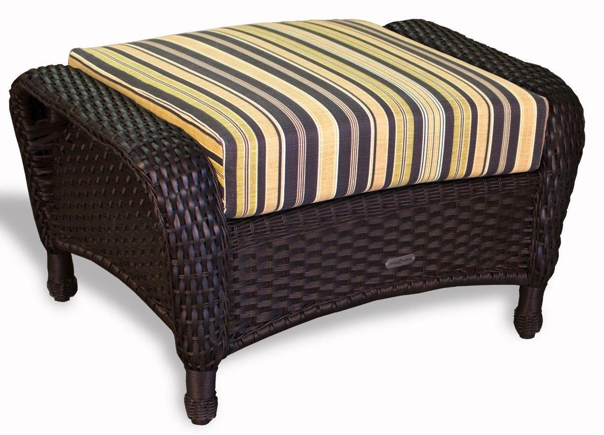 #139 - Outdoor Patio Garden Furniture Tortoise Resin Wicker Ottoman in Vera Cruz Coal
