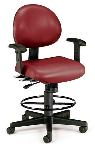 #75 - Anti-Microbial Anti-Bacterial Wine Vinyl Medical Office Chair with Drafting kit