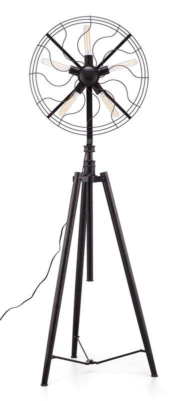 #74 - Vintage Fan Style Metal Floor Lamp in Rust Black w/Five Thin Bulbs - Home Decor