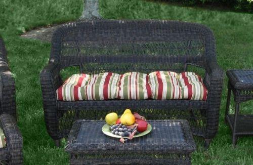 #25 - 6 Pcs Outdoor Patio Dark Roast Resin Wicker Dining Set & Eastbay Pompeii Fabric