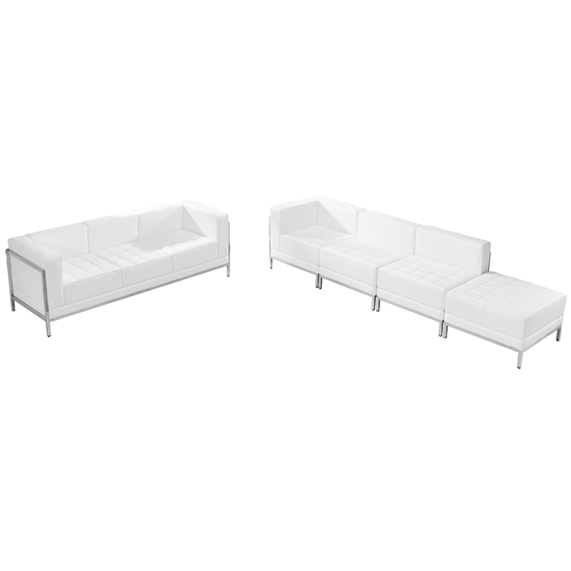 #71 - 5 Piece Imagination Series White Leather Sofa & Lounge Chair Set