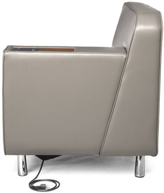 #171 - Left Arm Lounge Chair in Taupe with Electrical Outlet in Taupe w/ Bronze Finish