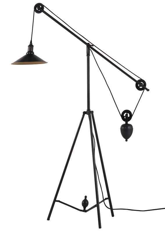 #76 - Antique Black Gold Floor Lamp w/Ingenious Synchronized Pulley System -Home Decor