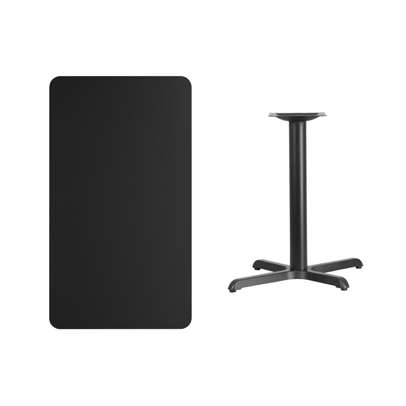 #144 - 24'' X 42'' RECTANGULAR BLACK LAMINATE TABLE TOP WITH 22'' X 30'' TABLE HEIGHT BASE