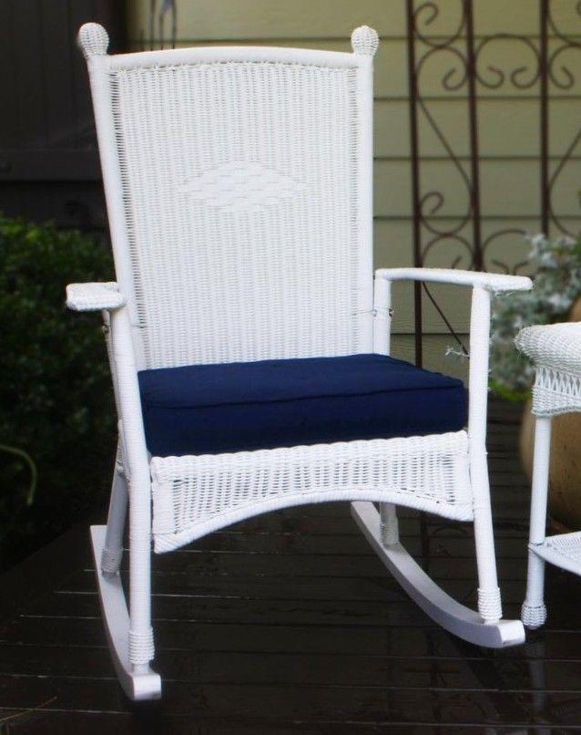 #14 - Outdoor Patio Garden Coastal White Resin Wicker Classic Rocking Chair Set