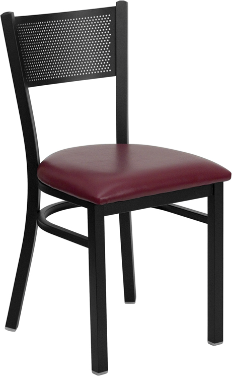 #91 - BLACK GRID BACK METAL RESTAURANT CHAIR - BURGUNDY VINYL SEAT