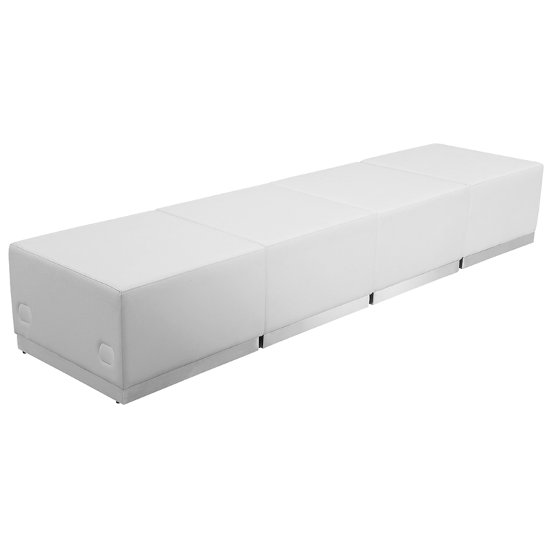 #61-  LOUNGE SERIES WHITE LEATHER RECEPTION CONFIGURATION, 4 PIECES