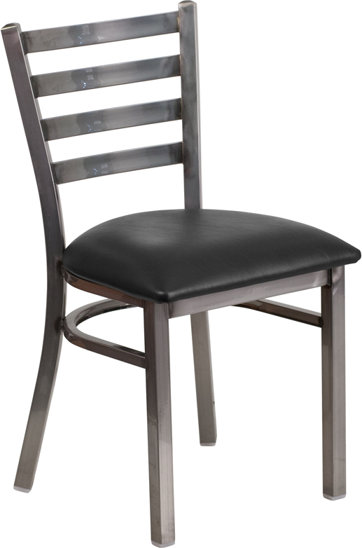 #72 - Clear Coated Ladder Back Metal Restaurant Chair with Black Vinyl Seat