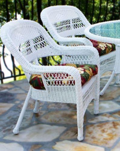 #40 - 5 Piece Outdoor Patio Coastal White Resin Wicker Dining Set w/ Mauna Loa Fabric