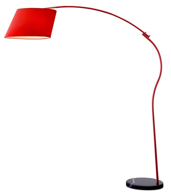 #77 - Cartoonish Style Red Floor Lamp w/Fabric Shade & Black Marble Base - Home Decor