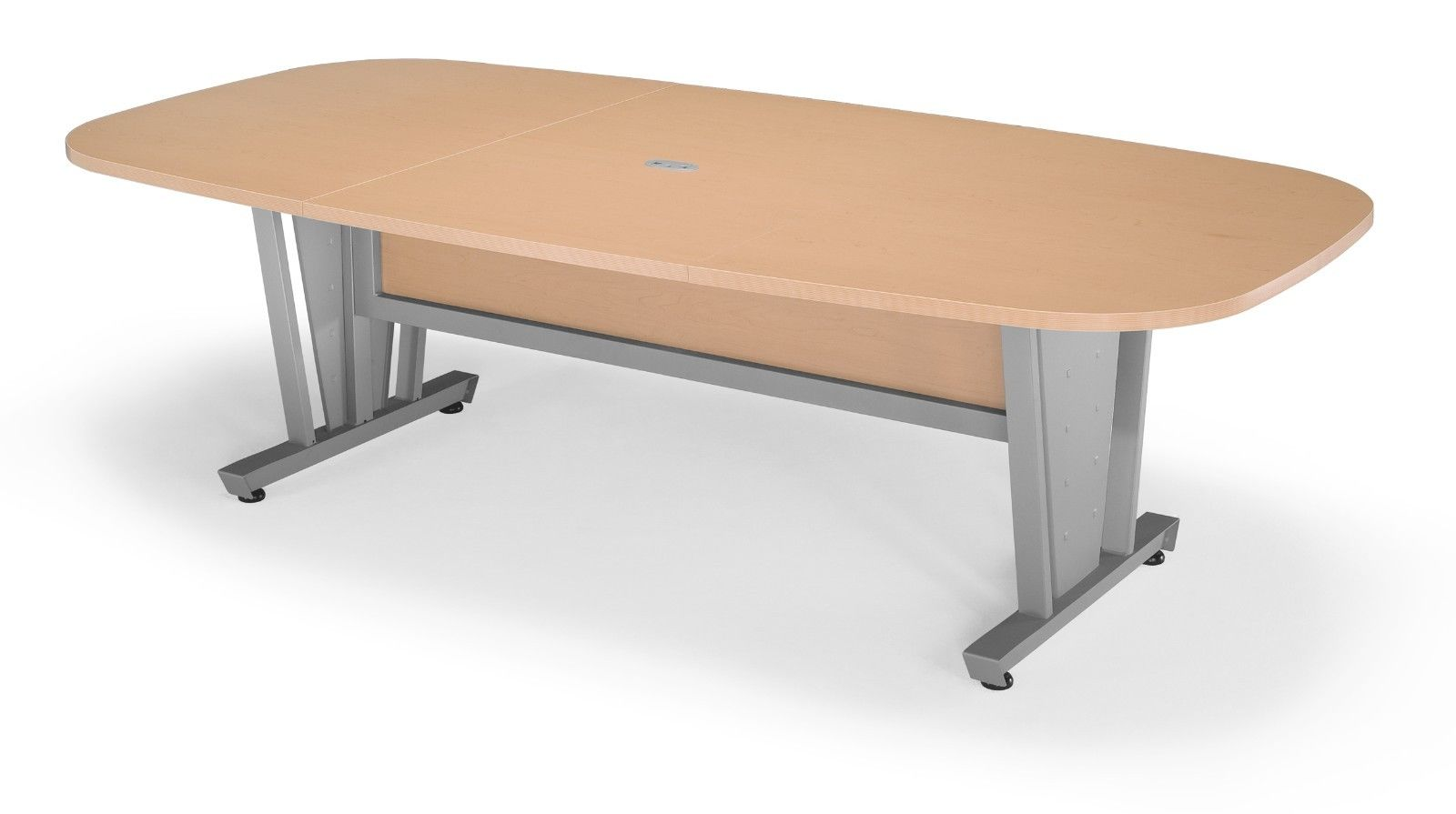 #12 - Conference Table Steel Frame Maple Finish Thermofused Laminate Tabletop 47.25'' x 93.5