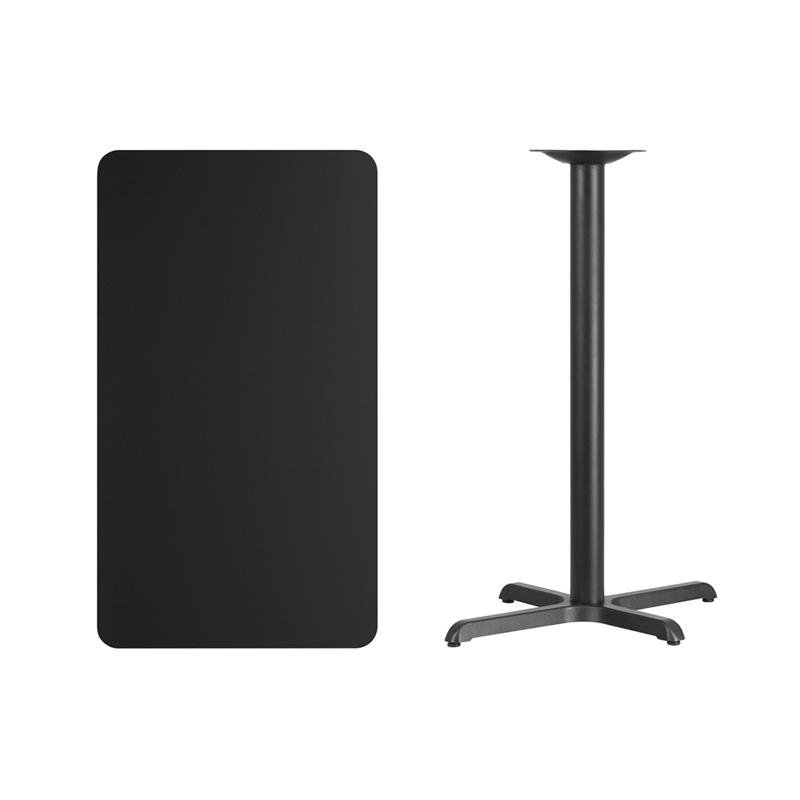 #145 - 24'' X 42'' RECTANGULAR BLACK LAMINATE TABLE TOP WITH 22'' X 30'' BAR HEIGHT BASE