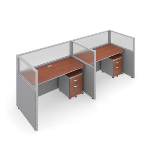 #19 - 47'' H x 60'' W 2 Rize Office Privacy WorkStation in Gray Vinyl w/Cherry Finish