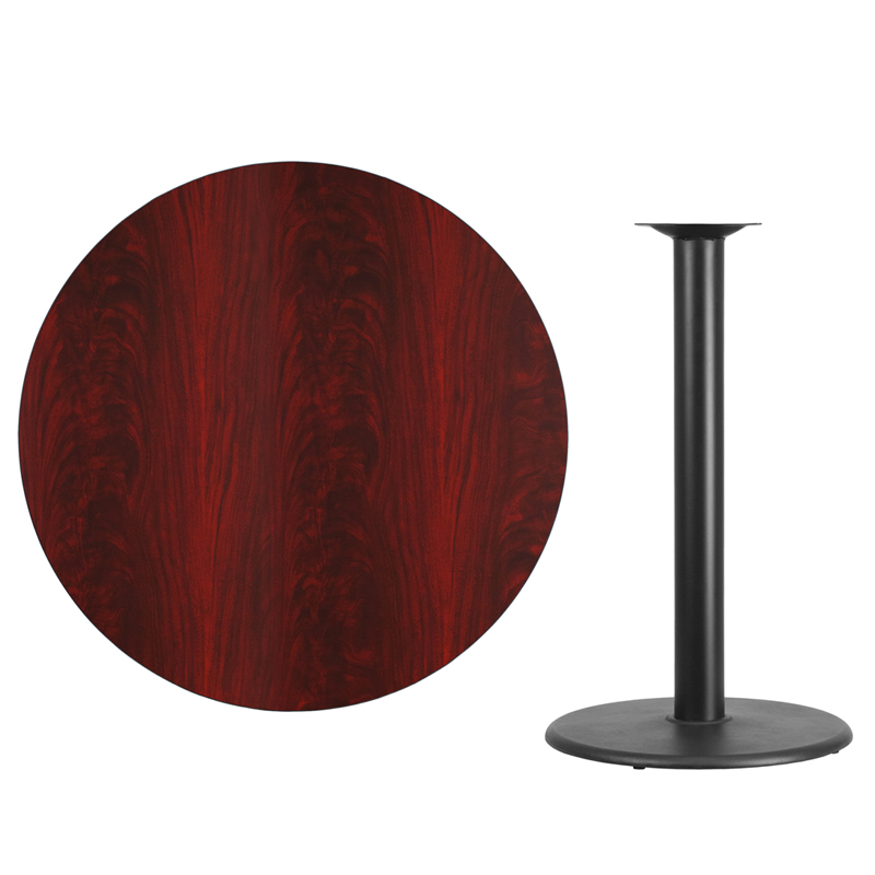 #59 - 42'' Round Mahogany Laminate Table Top with 24'' Round Bar Height Base