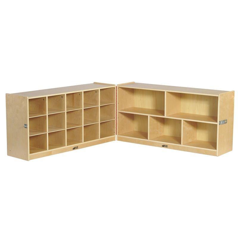 #19 - 24'' Fold & Lock 15 Tray Storage Cabinet with 15 Beige Bins